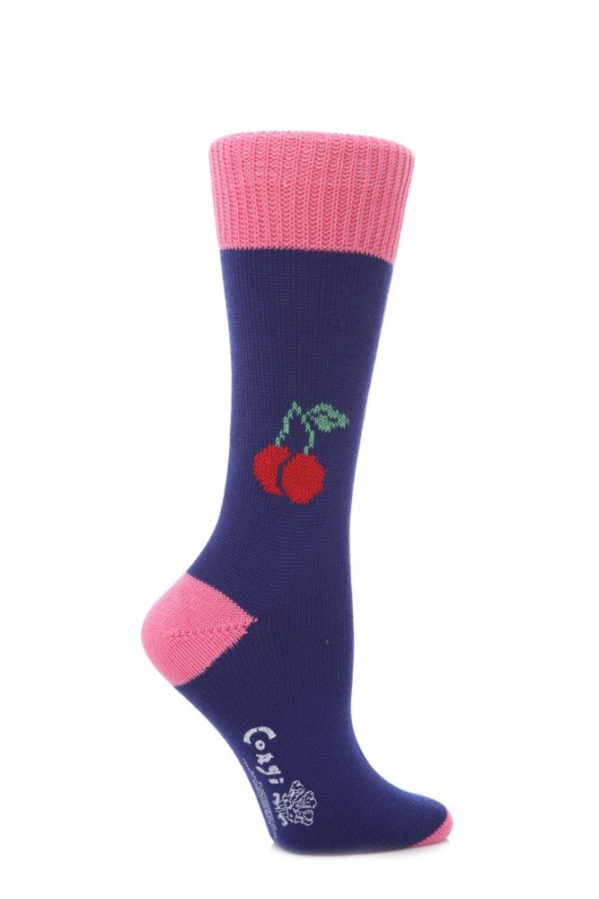 Ladies 1 Pair Corgi 100% Cotton Cherry Socks