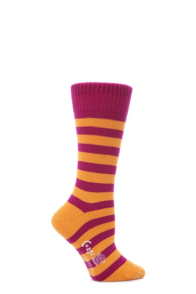 Ladies 1 Pair Corgi Cashmere and Cotton Block Striped Socks