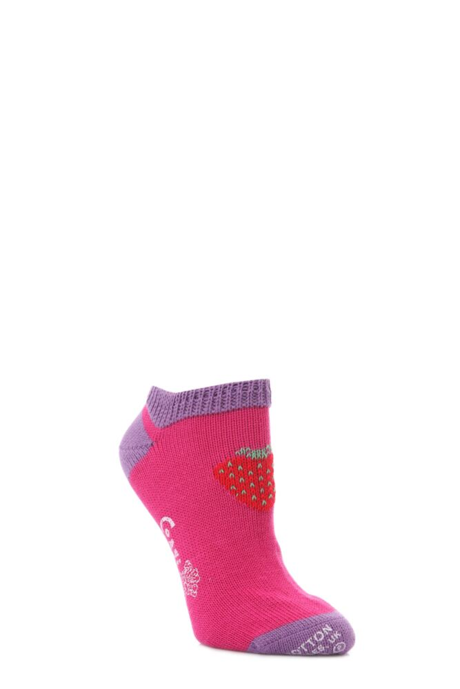 Ladies 1 Pair Corgi 100% Cotton Strawberry Trainer Socks