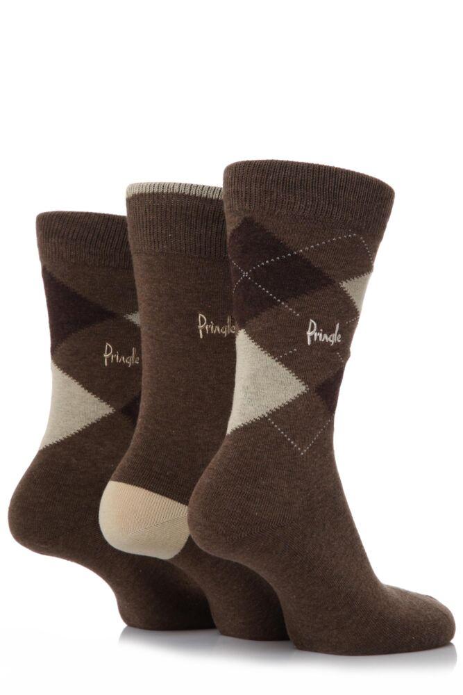 Mens 3 Pair Pringle New Waverley Argyle Patterned and Plain Socks