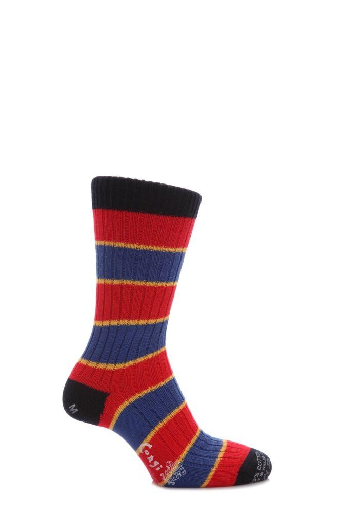 Mens 1 Pair Corgi 100% Cotton Triple Stripe Socks