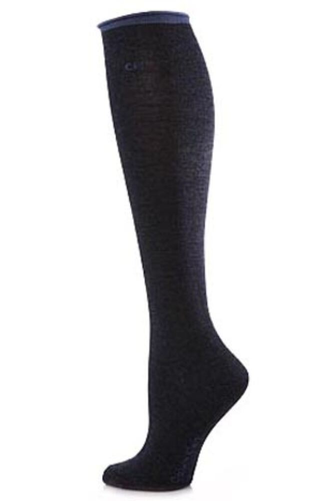 Ladies 1 Pair Calvin Klein Tipped Logo Roll Top Knee High Socks