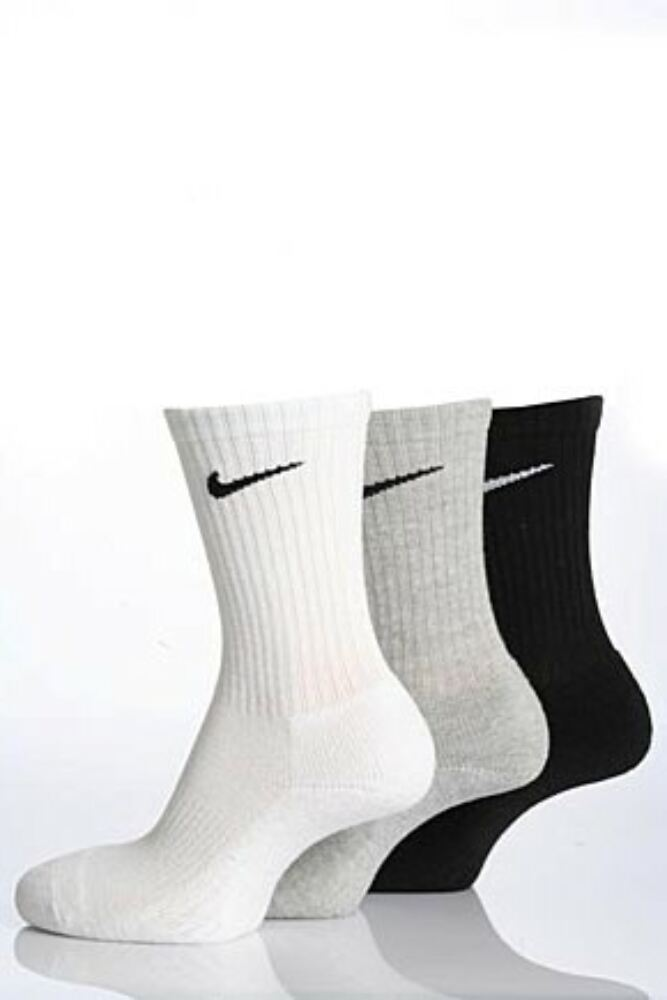 Mens and Ladies 3 Pair Nike Sports Cotton Half Cushioned Crew Socks In 3 Colours