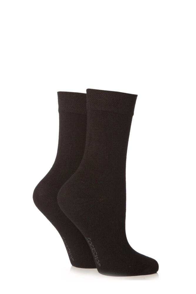 Ladies 2 Pair SockShop Plain Bamboo Socks