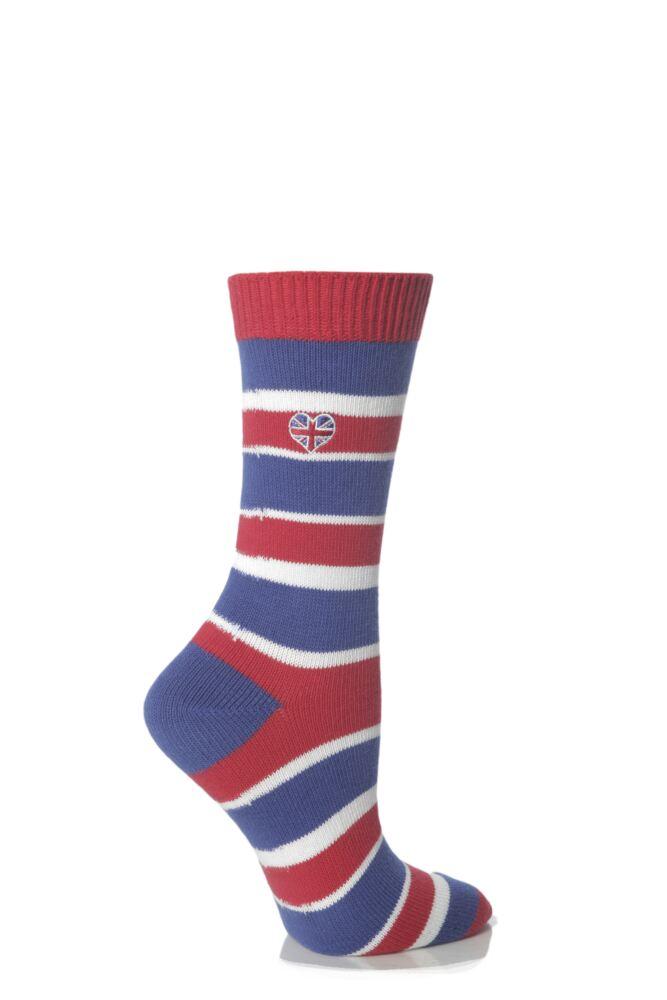 Ladies 1 Pair SockShop Proud To Be British Colour Burst Socks