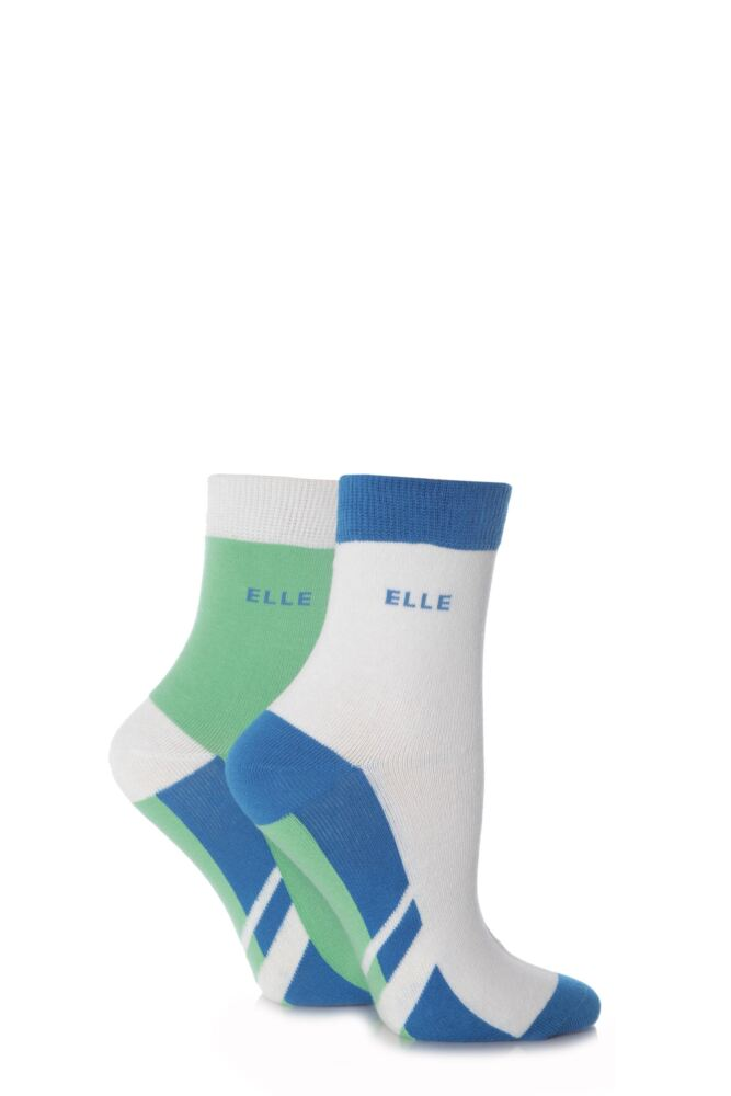 Ladies 2 Pair Elle Non-Cushioned Ankle Sports Socks