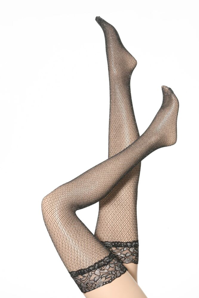 Ladies 1 Pair Silky Party Can Can Glitter Fishnet Lace Top Hold Ups 50% OFF