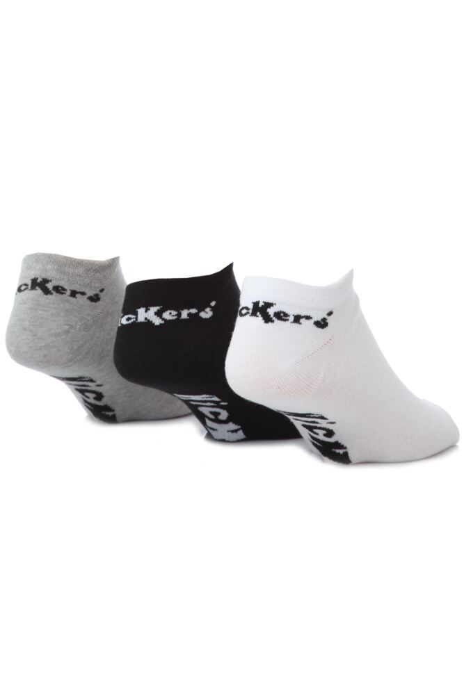 Mens 3 Pair Kickers Plain Trainer Socks In 3 Colours