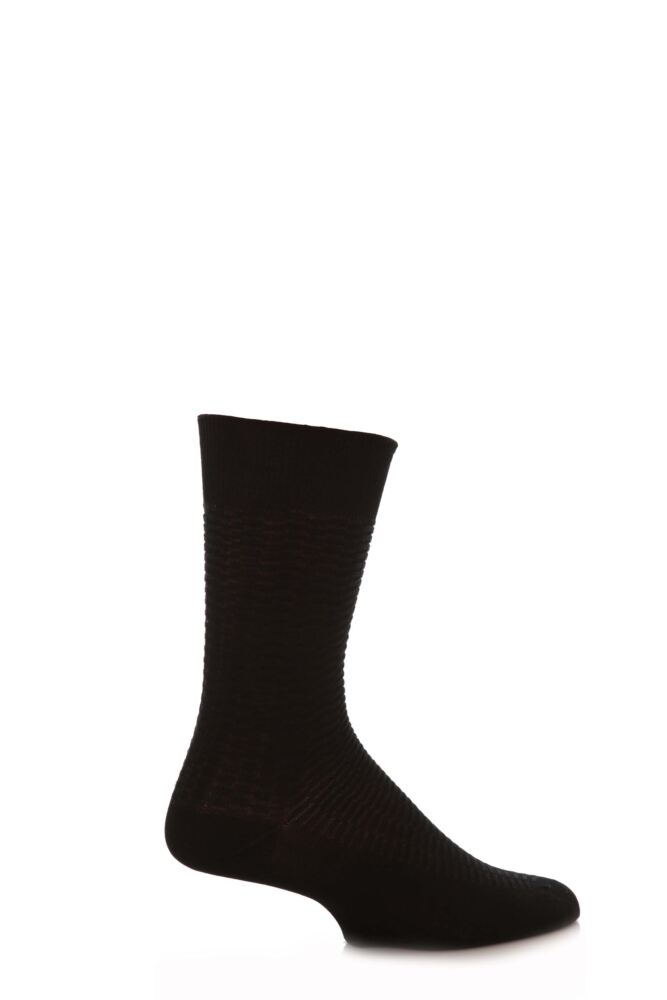 Mens 1 Pair SockShop Fine Checker Pattern Mercerised Cotton Socks