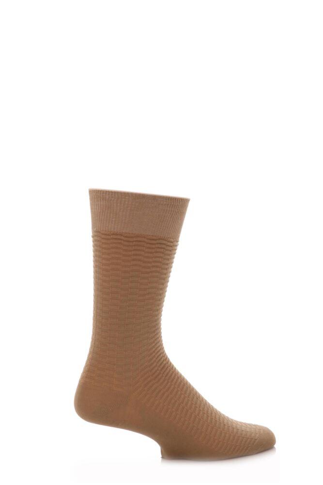 Mens 1 Pair SockShop Fine Checker Pattern Mercerised Cotton Socks