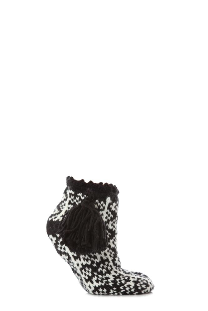 Ladies 1 Pair Urban Knit Fairisle Bootie Non Slip With Large Tassle 25% OFF This Style
