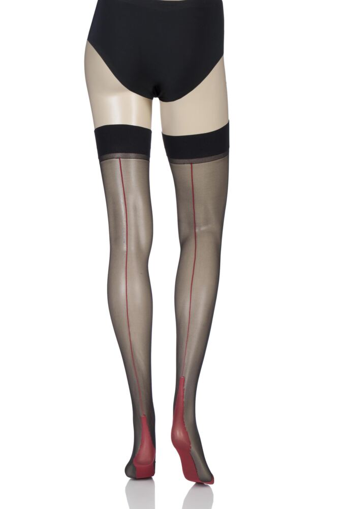 Ladies 1 Pair Jonathan Aston Contrast Seam And Heel Stockings