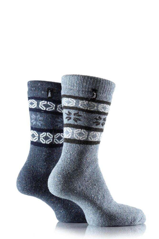 Mens 2 Pair Jeep Wool Thermal Alpine Fairisle Boot Socks