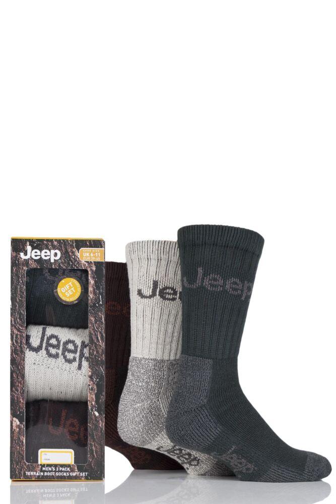 Mens 3 Pair Jeep Luxury Terrain Socks Gift Box