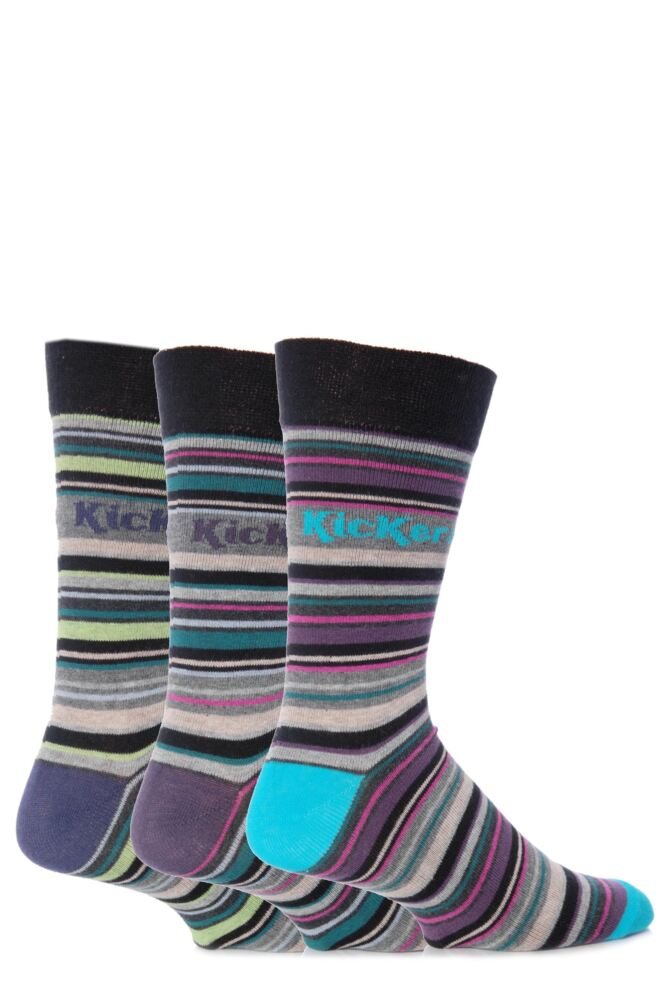 Mens 3 Pair Kickers Belleville Multi Stripe Socks 33% OFF