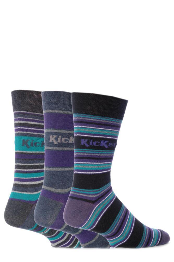 Mens 3 Pair Kickers St Germain Multi Stripe Socks 33% OFF