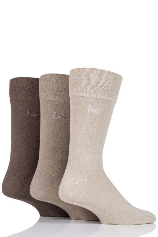 Mens 3 Pair Pringle Dunvegan Comfort Cuff Plain Cotton Socks
