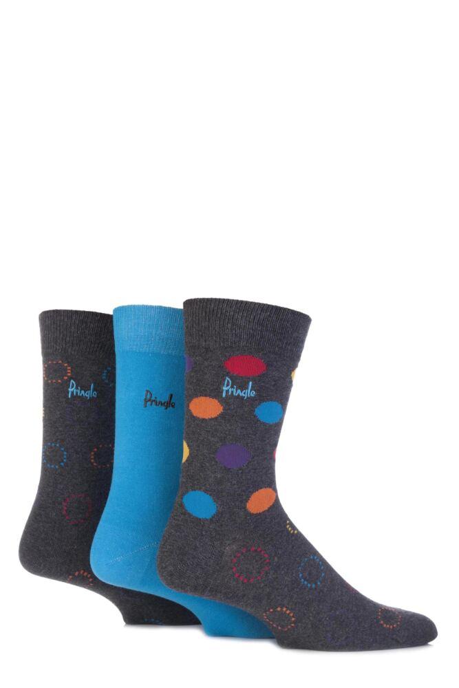 Mens 3 Pair Pringle Cambuslang Plain and Spotty Cotton Socks