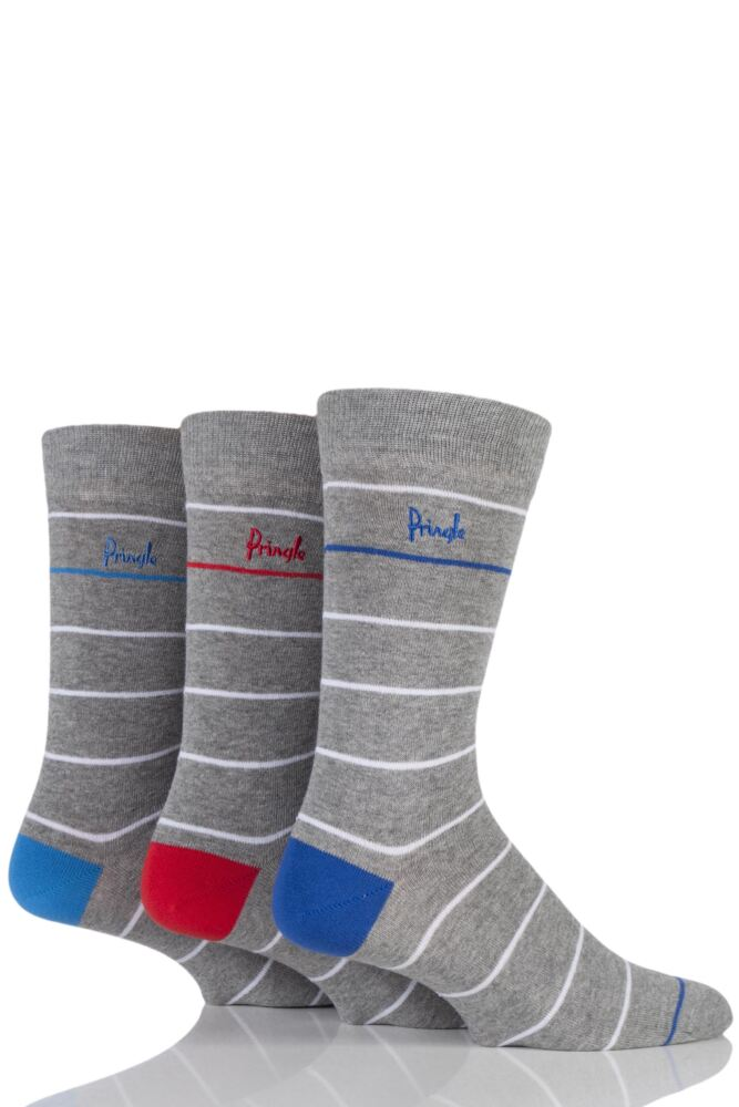 Mens 3 Pair Pringle Dunoon White Striped Cotton Socks
