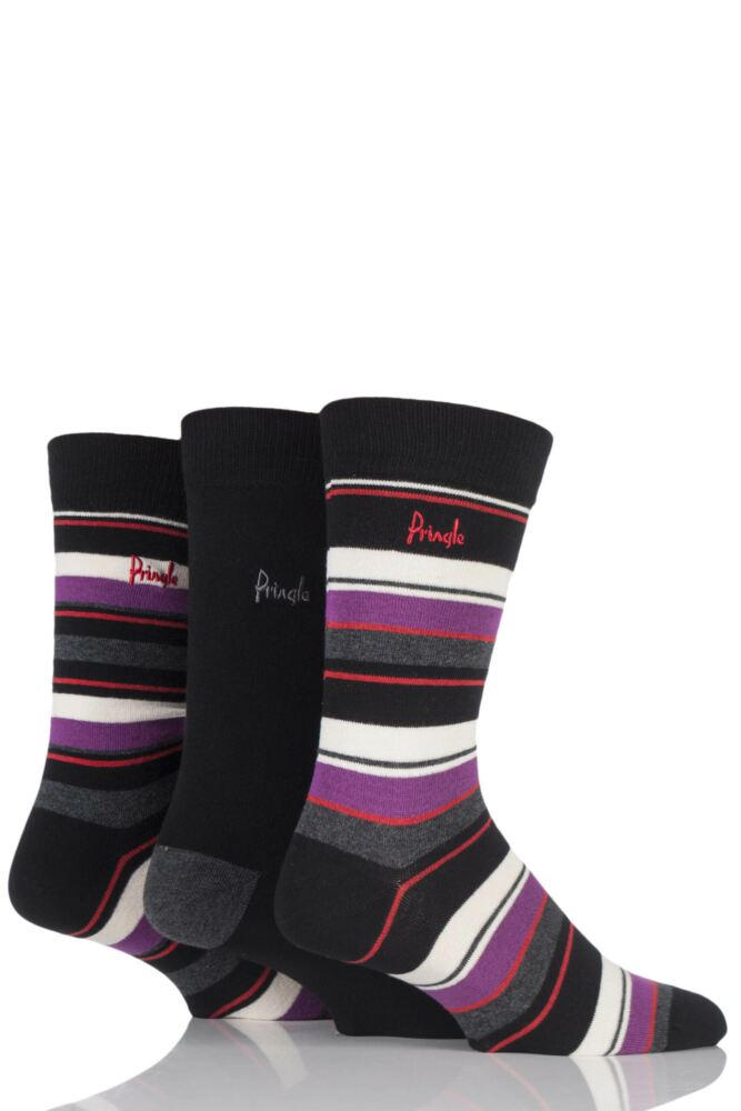 Mens 3 Pair Pringle Highland Striped and Plain Cotton Socks