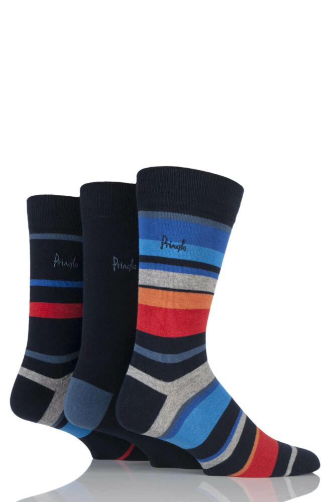 Mens 3 Pair Pringle Edinburgh Block Striped and Plain Cotton Socks