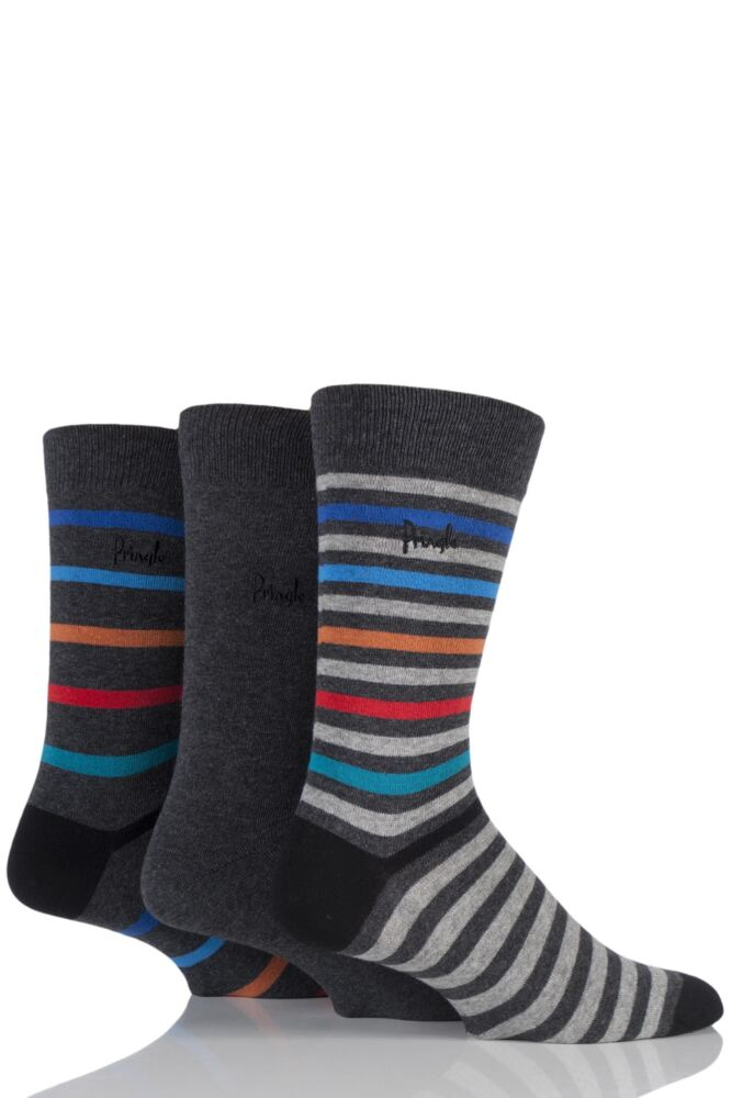 Mens 3 Pair Pringle Aberdeen Banded Striped and Plain Cotton Socks