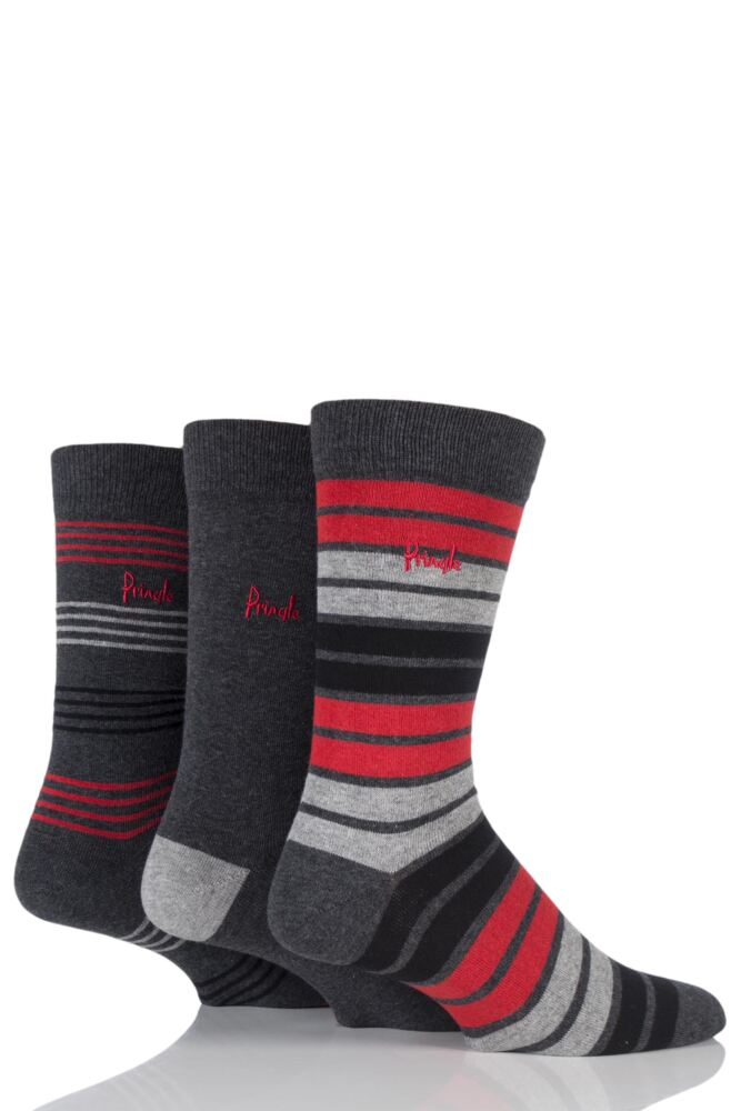 Mens 3 Pair Pringle Peterhead Plain and Mixed Striped Cotton Socks