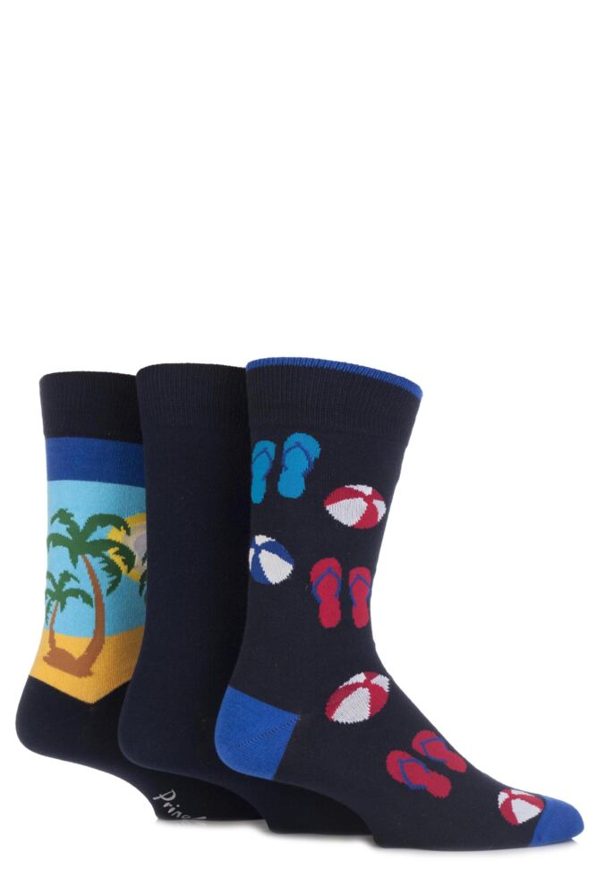 Mens 3 Pair Pringle Holiday and Palm Trees Cotton Novelty Socks