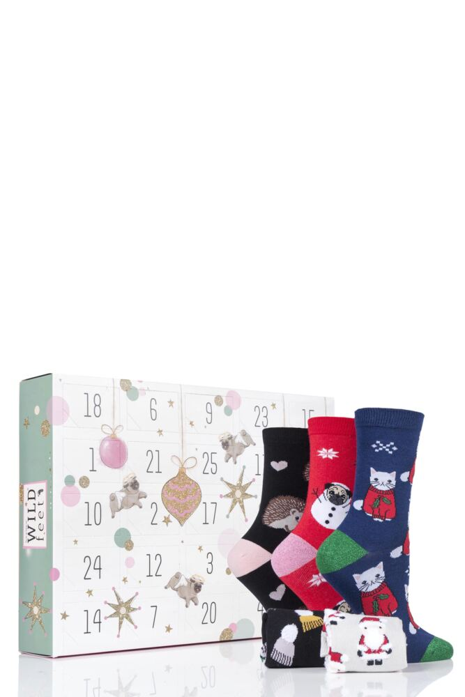 Ladies 25 Pair SockShop Wild Feet Christmas Advent Calendar Socks