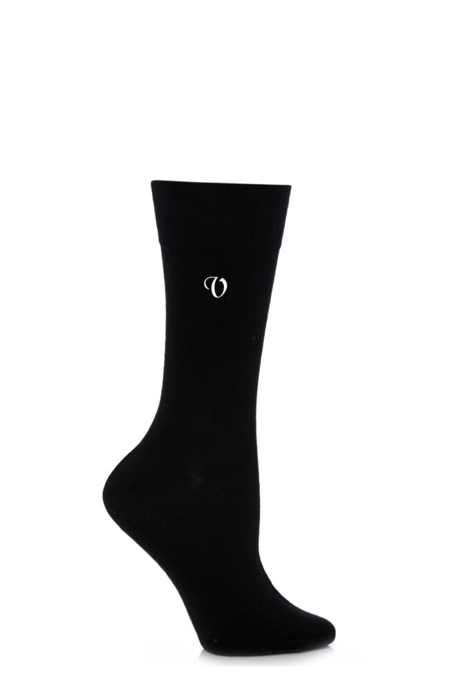 Ladies 1 Pair SockShop New Individual Black Embroidered Initial Socks - 26 To Choose From