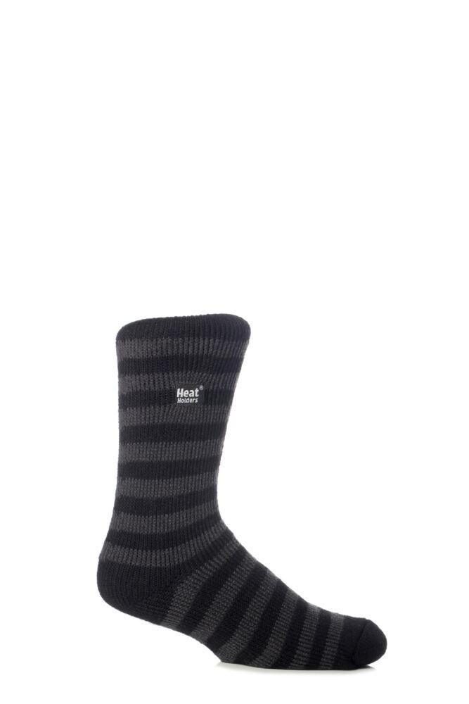 Mens 1 Pair SockShop Two Tone Striped Heat Holders Thermal Socks
