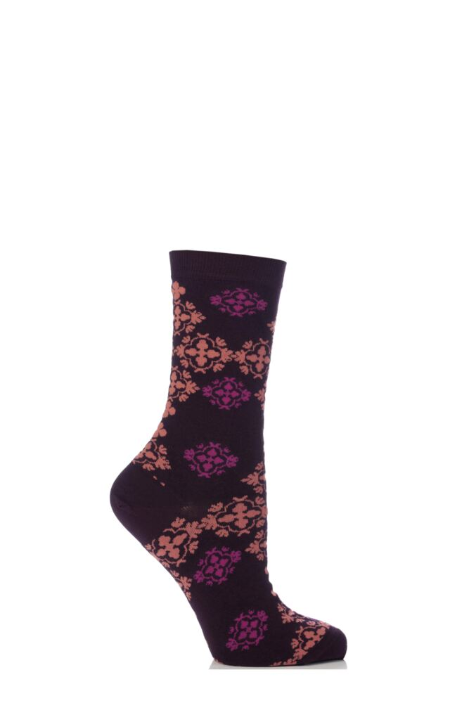 Ladies 1 Pair Levante Brocade Crew Socks