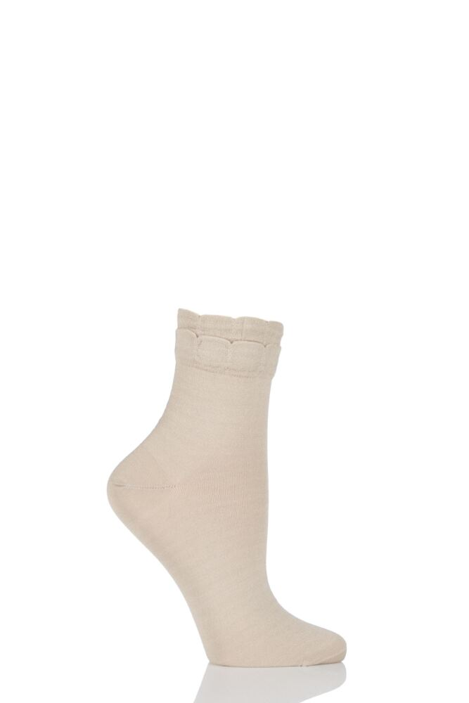 Ladies 1 Pair Levante Nicoletta Double Picot Frill Mercerised Cotton Ankle Socks 25% OFF