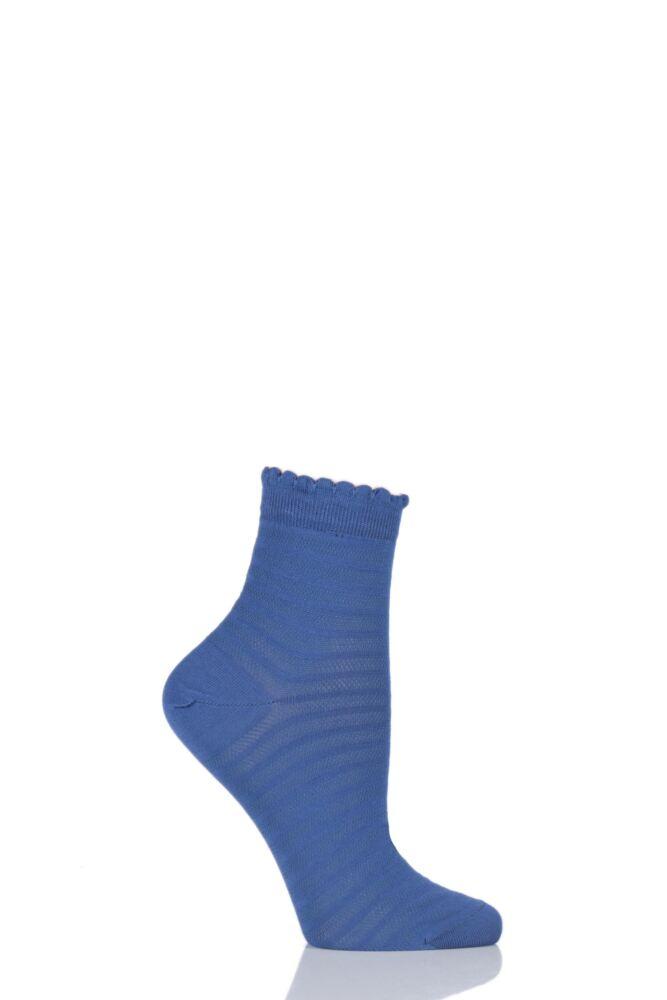 Ladies 1 Pair Levante Luisella Striped Tulle Mercerised Cotton Ankle Socks 25% OFF