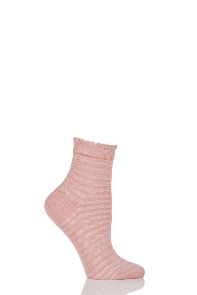 Ladies 1 Pair Levante Luisella Striped Tulle Mercerised Cotton Ankle Socks