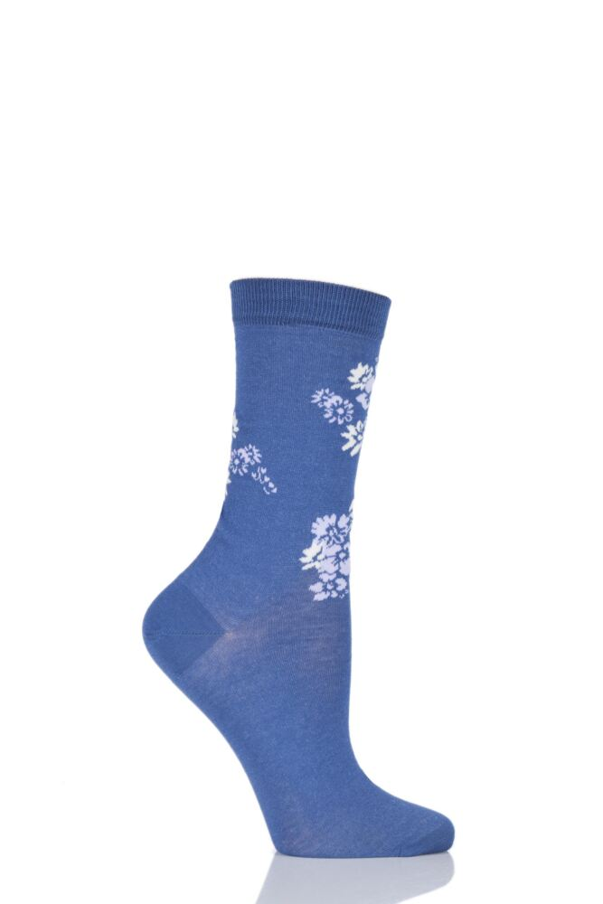 Ladies 1 Pair Levante Rosannah Floral Crew Mercerised Cotton Socks 33% OFF