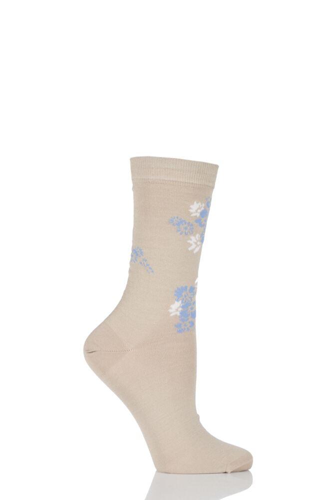 Ladies 1 Pair Levante Rosannah Floral Crew Mercerised Cotton Socks 33% OFF