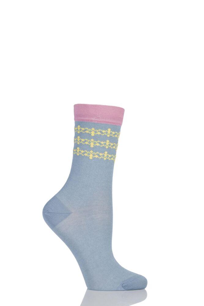 Ladies 1 Pair Levante Allegra Ankle Detail Crew Socks