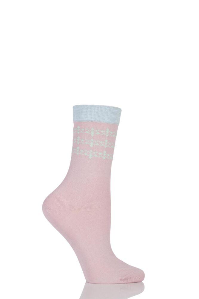 Ladies 1 Pair Levante Allegra Ankle Detail Crew Socks 25% OFF