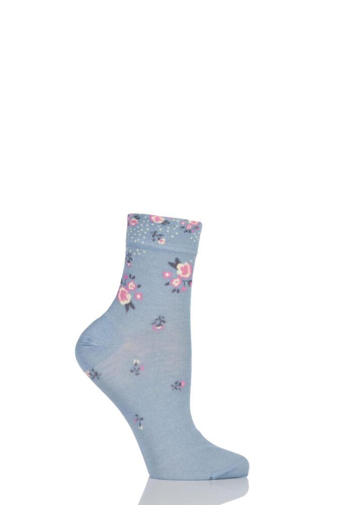 Ladies 1 Pair Levante Michela Ditsy Floral Crew Socks 25% OFF