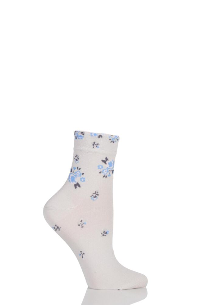 Ladies 1 Pair Levante Michela Ditsy Floral Crew Socks