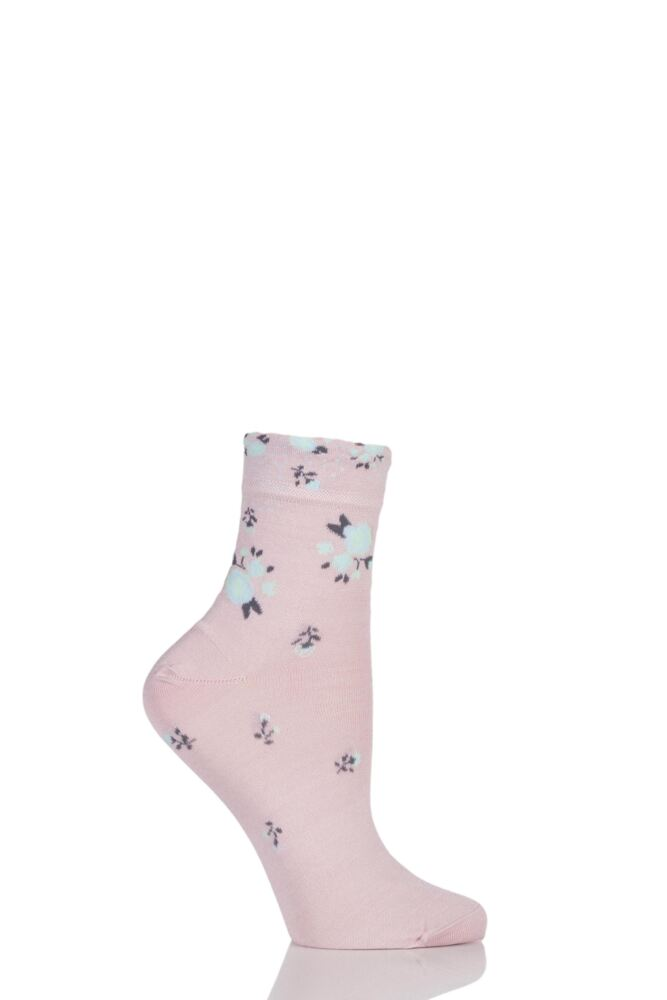 Ladies 1 Pair Levante Michela Ditsy Floral Crew Socks 25% OFF