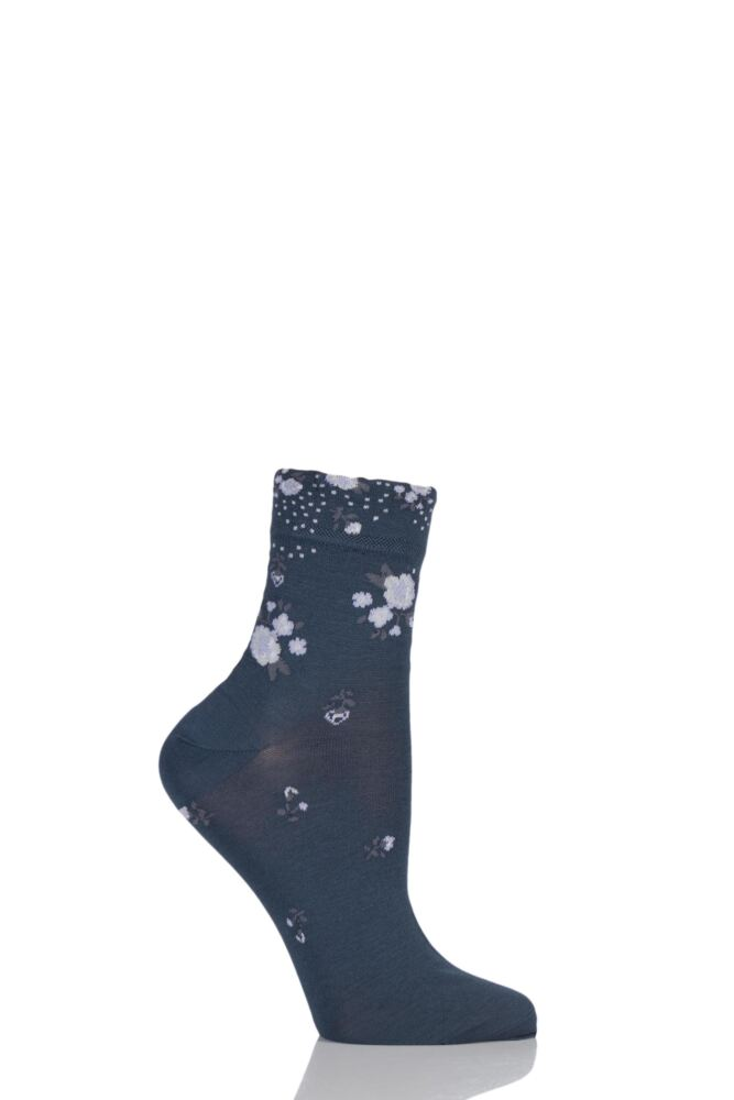 Ladies 1 Pair Levante Michela Ditsy Floral Crew Socks