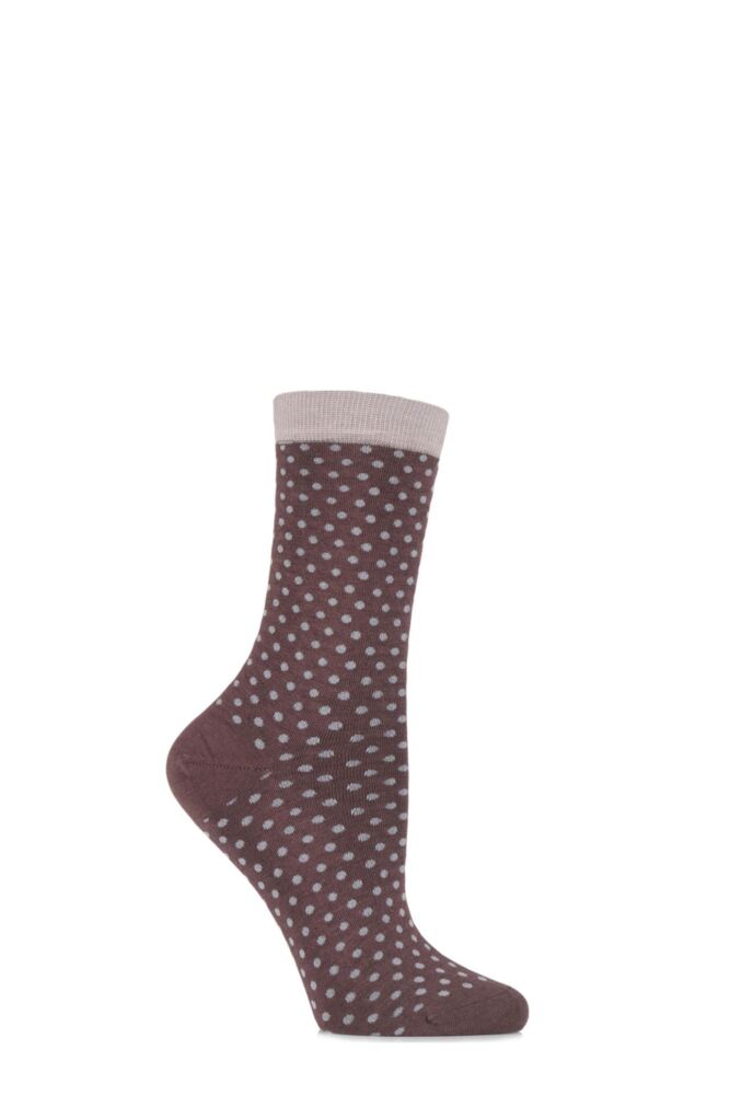 Ladies 1 Pair Levante Albertina Cashmere Blend Spotty Socks