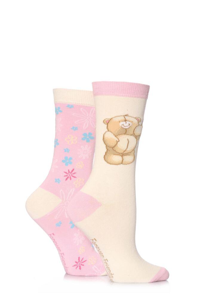 Girls 2 Pair Forever Friends Bear and Flower Socks 33% OFF