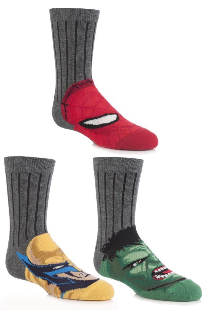 Boys 3 Pair Marvel Heroes School Socks - Hulk, Spider-Man and Wolverine