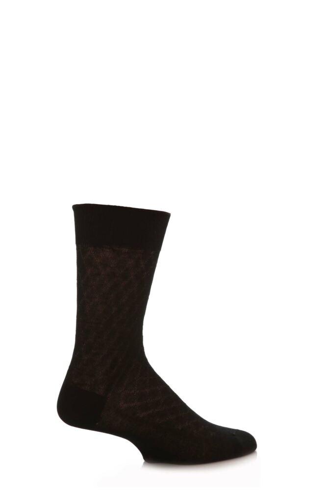 Mens 1 Pair SockShop Diamond Pattern 97% Mercerised Cotton Socks