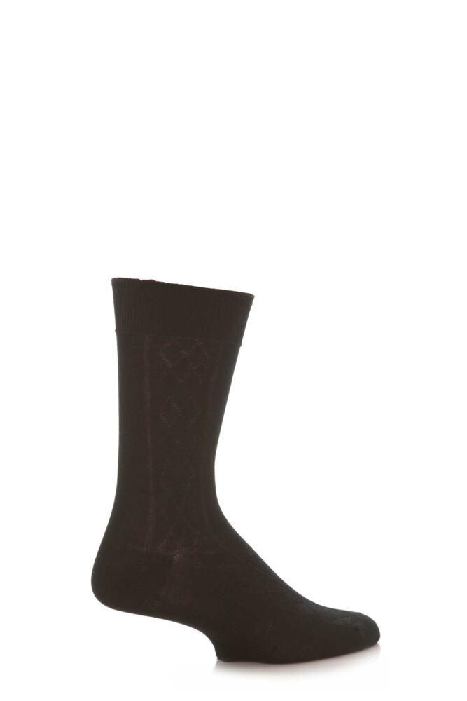 Mens 1 Pair SockShop Argyle Rib Mercerised Cotton Socks