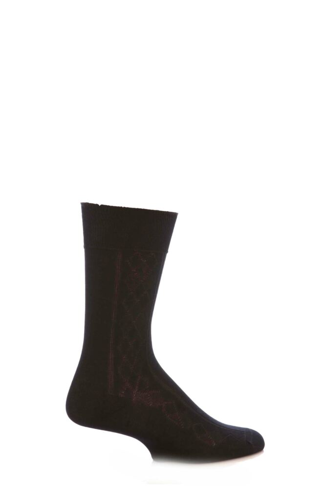 Mens 1 Pair SockShop Argyle Rib Mercerised Cotton Socks