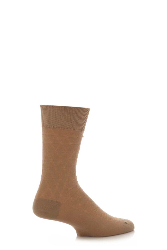 Mens 1 Pair SockShop Large Diamond Pattern 97% Mercerised Cotton Socks
